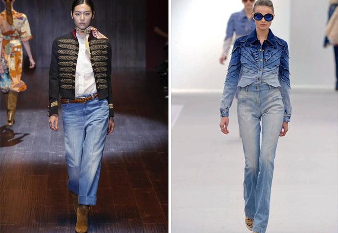 потертые джинсы с высокой талией