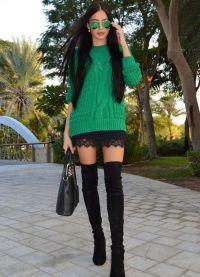 Какво да носите със зелен пуловер7