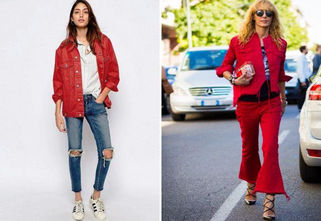 красные джинсовые куртки