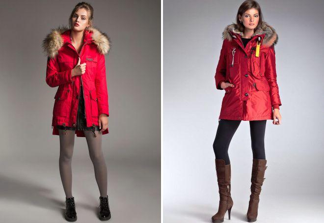 красная куртка с мехом