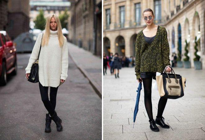 с чем носить модный свитер оверсайз