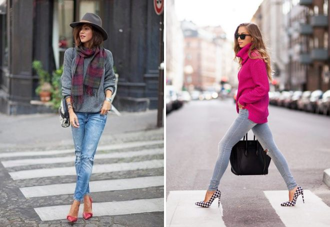 свитер оверсайз с джинсами