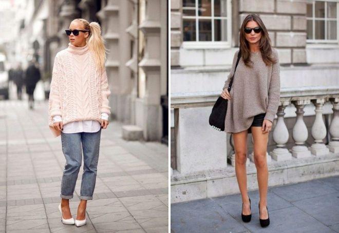 с чем носить женский свитер оверсайз