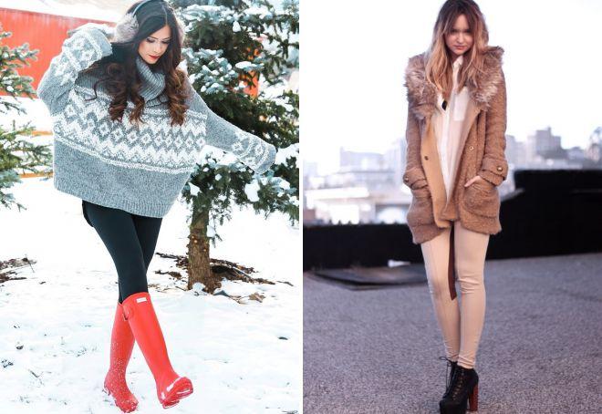 с чем носить лосины зимой