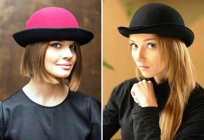 женская шляпка котелок