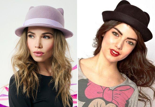 женские шляпки с ушками