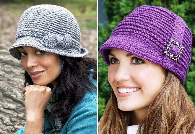 вязаные женские шляпки