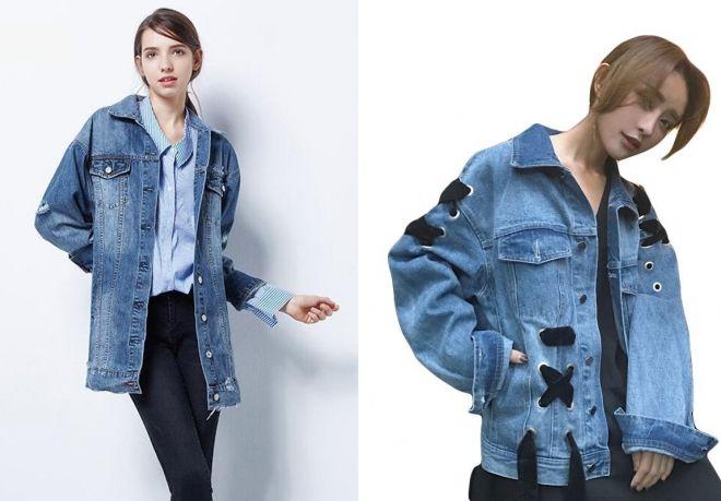 женский синий джинсовый бомбер