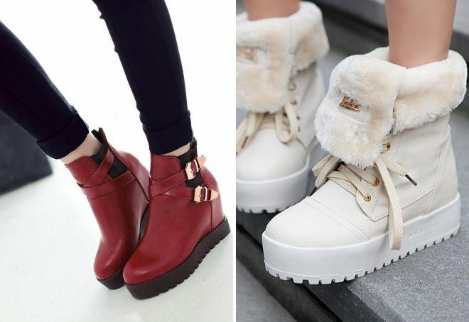 женские ботинки на платформе 2017