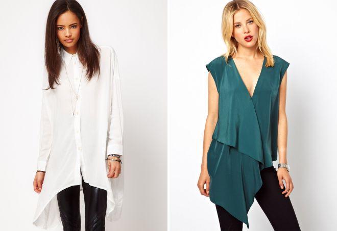стильные асимметричные блузки