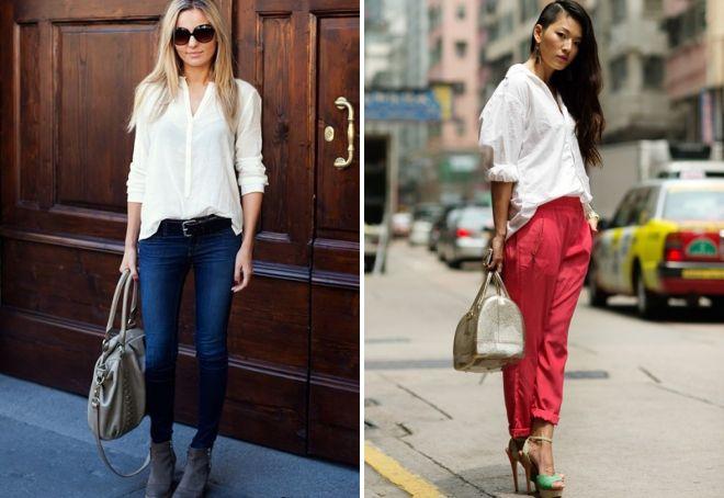 стильные луки с белой рубашкой