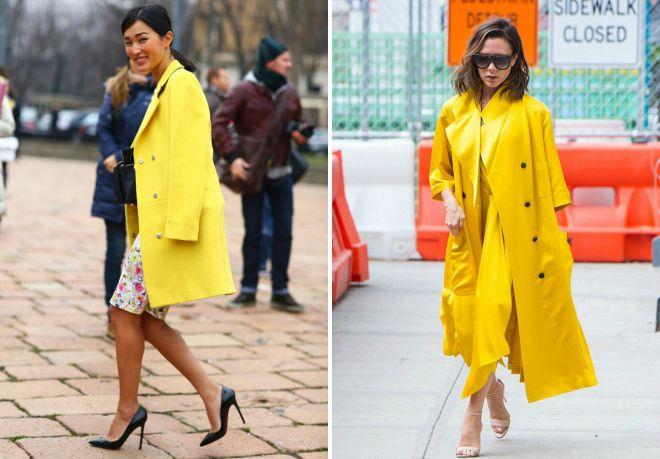 płaszcz koloru żółtego