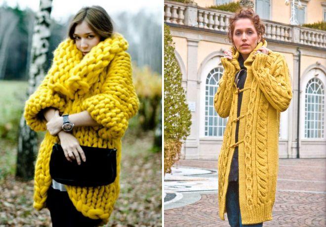 żółty płaszcz z dzianiny