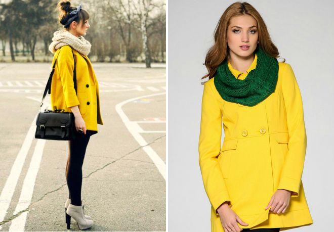 krótki żółty płaszcz