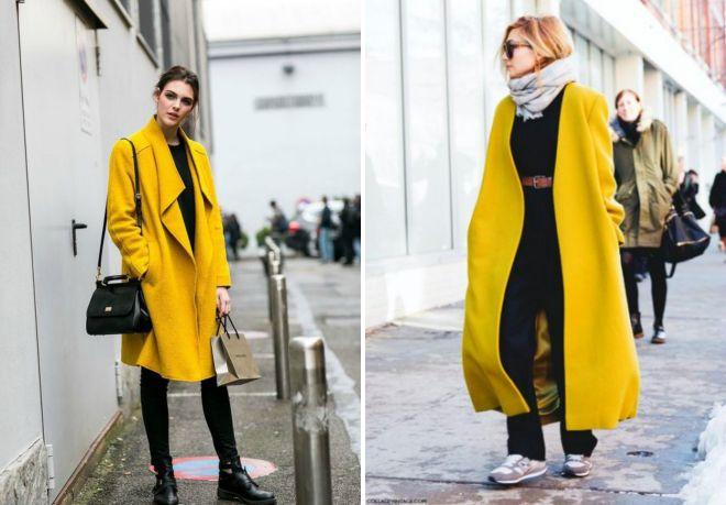 długi żółty płaszcz