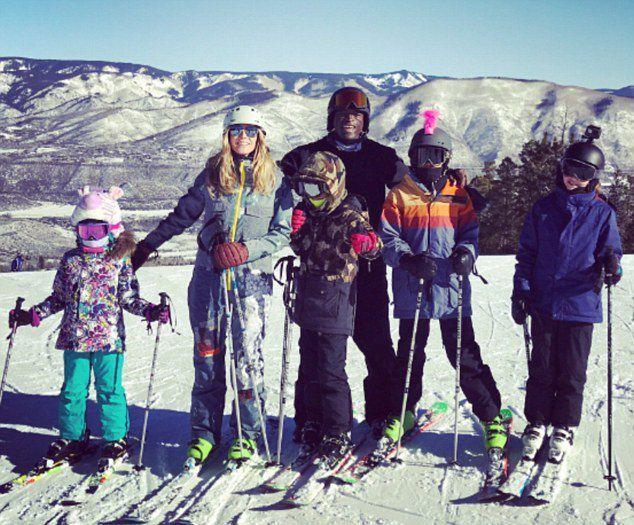 Сил и Хайди Клум вместе с детьми в Аспене