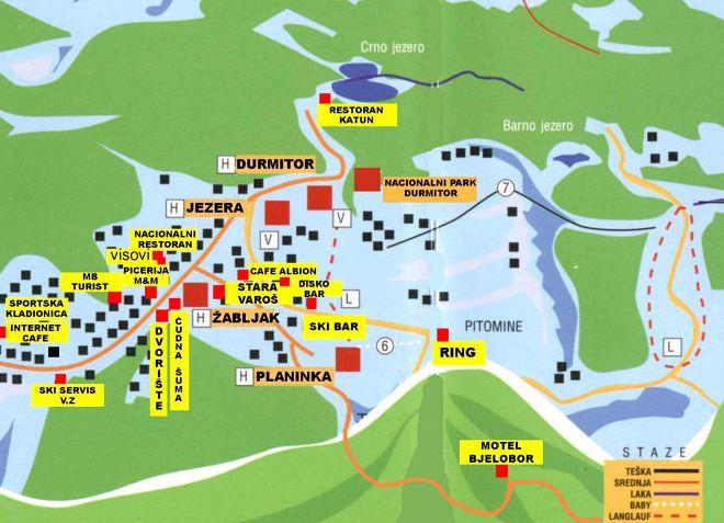 Карта трасс горнолыжного курорта Жабляк