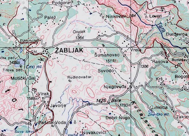 Жабляк на карте Черногории